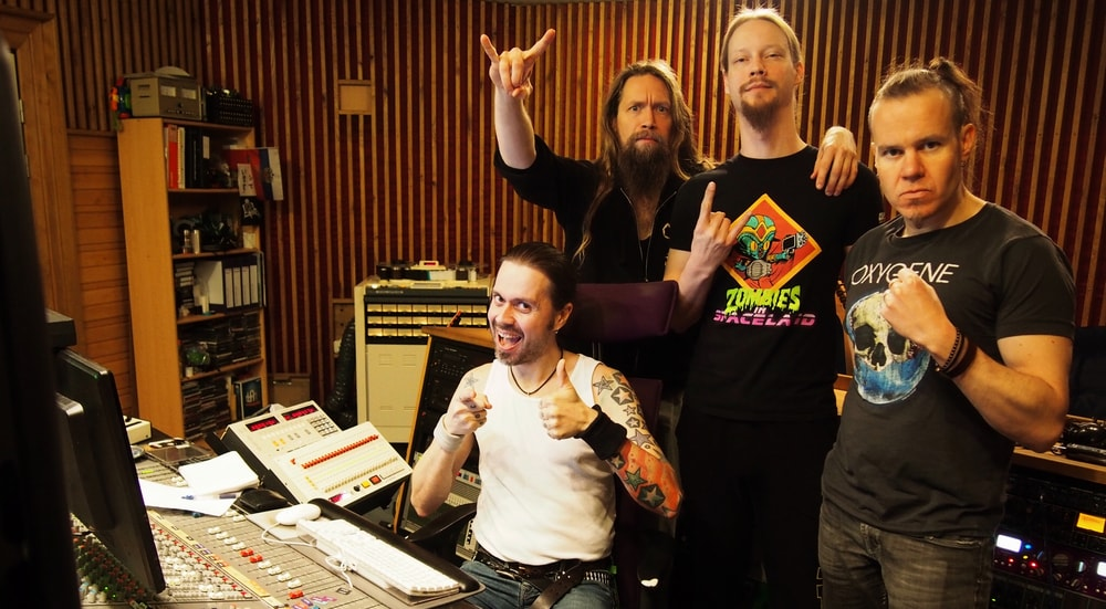 Ensiferum in Astia-studio A control room in 2017