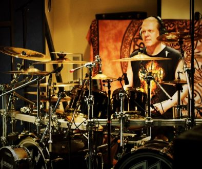 Janne Parviainen in Astia-studio A drum room with Ensiferum
