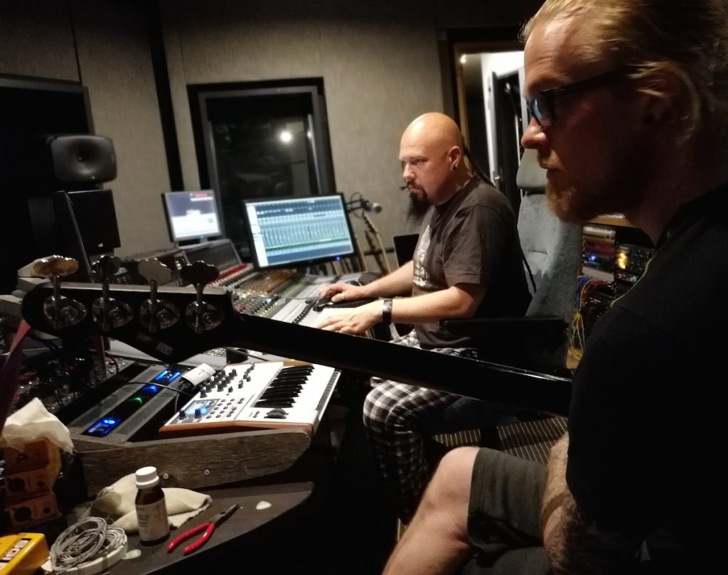 Kai-Pekka Kangaskolkka and Janne Joutsenniemi in SF Sound Studio