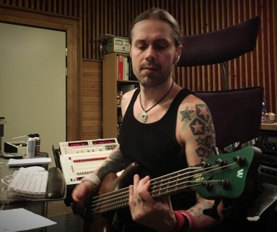 Anssi Kippo recording bass in Astia-studio A