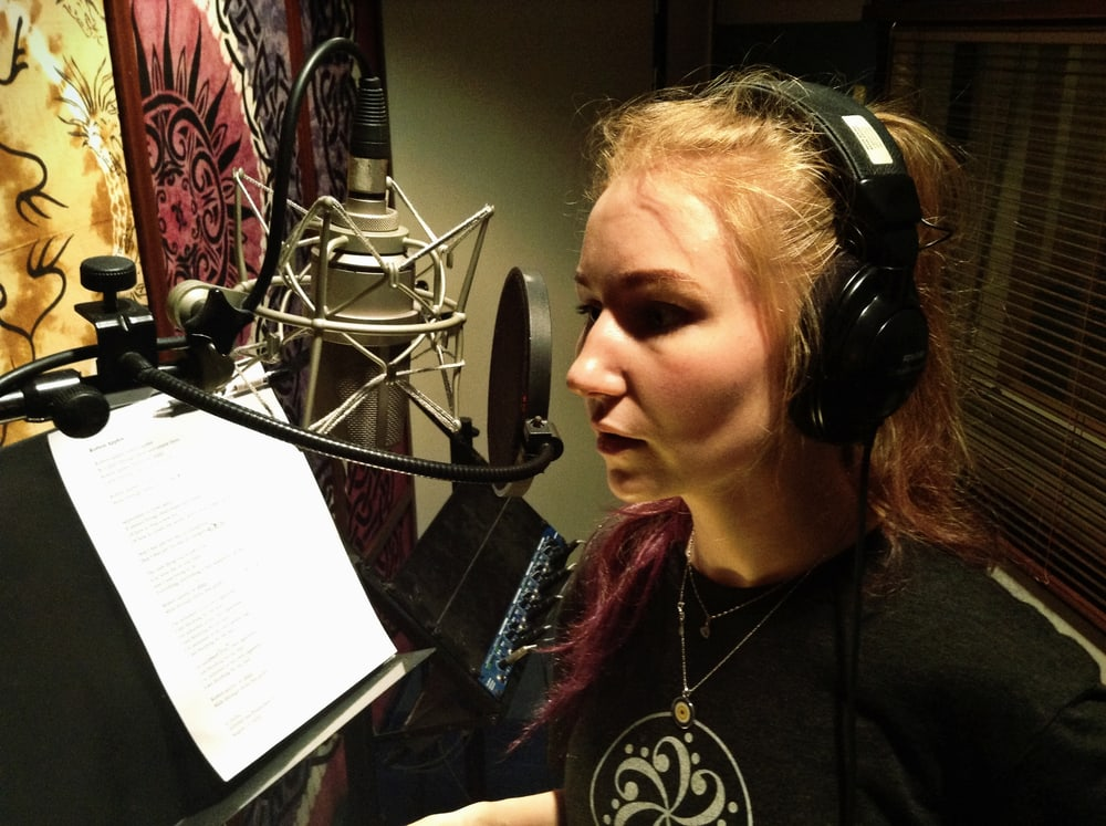 Hella from Jellyfish Inn in Astia-studio vocal booth